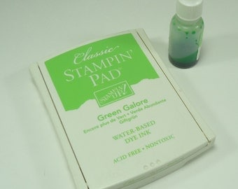 Green Galore Stamp Pad From Stampin Up with Reinker Reduced Price