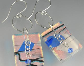 Sterling Silver Dichroic Metallic Iridescent Fused Glass Dangle Statement French Hook Earrings in Silver Blue Black White