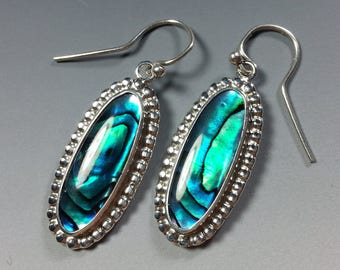 Colorful Paua Shell and Sterling Silver Earrings