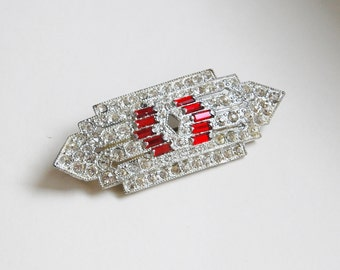 Vintage 1930s Rhinestone Brooch Art Deco Pot Metal Brooch Sparkle Red and Clear 20s