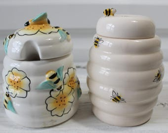 Lot of Two Vintage Honey Pots, Beehive, Honey Jar, Save The Bees, Ceramic, Collection, Honey pots with lids