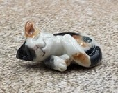 Miniature calico cat -  porcelain sculpture