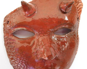 fire spirit mask - wall decoration -ceramic art
