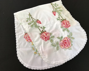 Vintage White Cotton Blend Table Runner/Dresser Scarf with Hand Embroidery Red Roses and Lace Trim