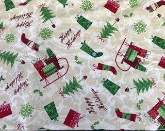1 1/2 Yards of Happy Holidays Christmas Print Cotton Fabric