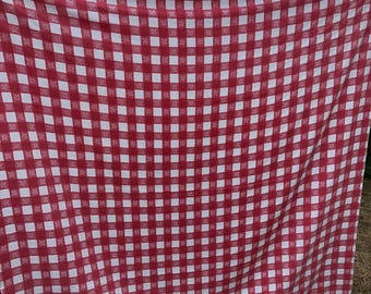 Vintage Red and White Picnic Check Tablecloth