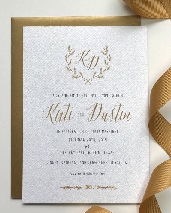Items Similar To Simple Wedding Invitations, Gold Wedding