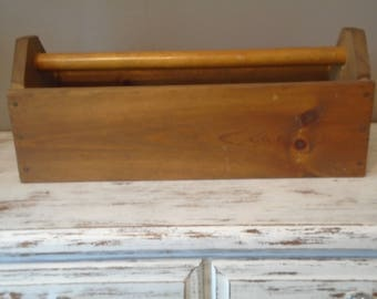 Large wooden tool box with dowel type handle, primitive rustic tool box, primitive storage box