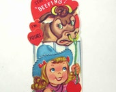 Vintage Unused Children's Novelty Valentine Greeting Card with Cowgirl and Bull Cow