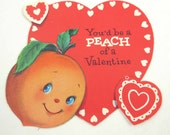 Vintage Valentine Greeting Card with Adorable Anthropomorphic Smiling Peach