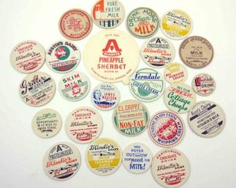 Assorted Vintage Milk Bottle Caps Set of 25 Lot H