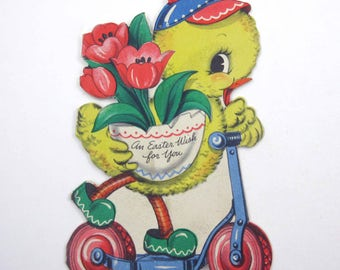 Vintage 1940s or 1950s Hallmark Easter Greeting Card with Cute Chick Hat Tulips Scooter