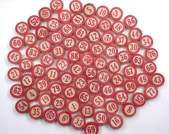 Vintage Wooden Lotto Game Pieces with Red Numbers Set of 86