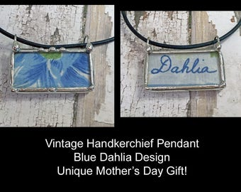 Vintage Handkerchief Pendant, Soldered Art Charm, Recycled Hanky, Blue Dahial Design, Mothers Day Gift, Two Sided, Word, Something Blue