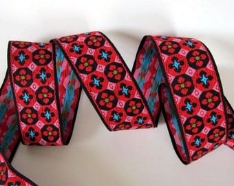 2 yards FLORAL MOSAIC vintage Jacquard trim in red, pink, turquoise on black. 1 1/2 inch wide. V31-A