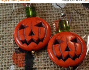 Pumpkin Earrings, Jack O Lantern Pumpkin Earrings, Halloween Earrings, Fall Earrings, Holiday Earrings, Dangle Earrings, Orange Earrings
