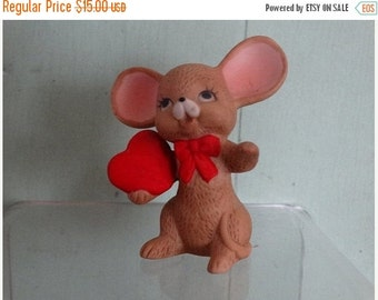 On Sale Lefton Mouse, Mice, Valentines Day, Love, Rodent, Porcelain Mouse Figure