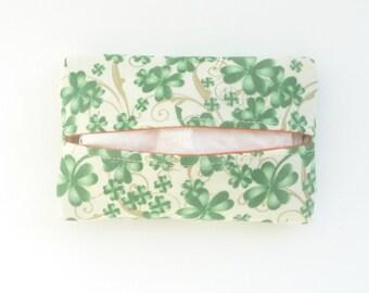 easter kleenex holder. st. patricks shamrock gift for her. travel pocket womens small tissue holder. teacher small gift ideas. green orange