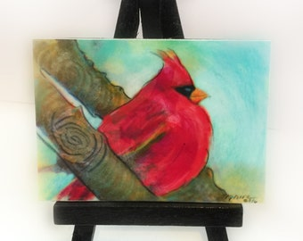 Cardinal,2.50x3.50 inches, birds, little gifts, nature lovers gifts, Office gifts #Cardinals #Red birds #Aceo original #Cardinal aceo