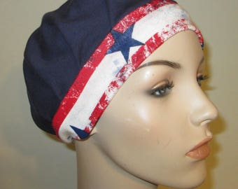 Pleated Knit Navy w Star Band Womens Hat Cancer Beanie