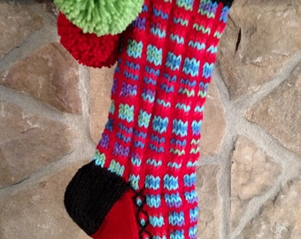 Old Fashioned Hand Knit Heartfelt Cherry Red Windowpane pattern Christmas Stocking with Lime Green Tree detail