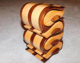 Jewelry Box - 4 Drawer Walnut & Maple Bandsaw Box