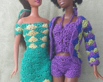 Crochet Pattern For Doll Sling : Barbie doll crochet pattern halter dress and wrap sweater