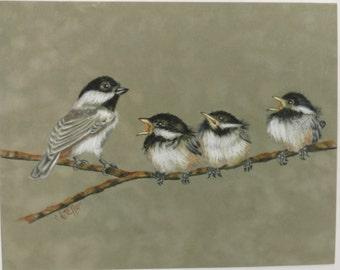 Chickadee's on Suede Board Baby Birds Colored Pencil