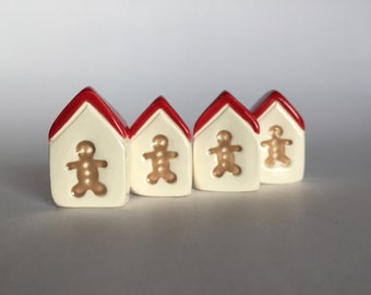 ONE gingerbread man Mini Christmas House little red door
