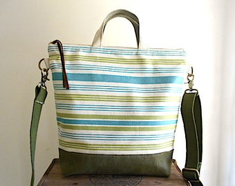 Stripe denim, military canvas tote, crossbody bag - eco vintage fabrics