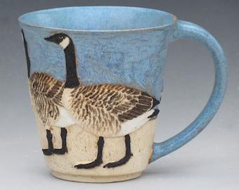 BIRDS & BEACH MUG --16 ounce size with 3 Canada Geese