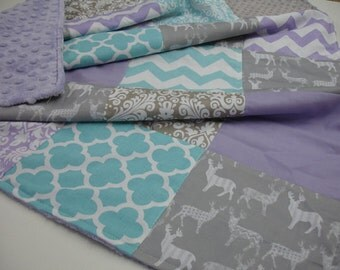 Meadow Deer White on Gray Mixed Geometrics Lavender Aqua Minky Comforter Blanket You Choose Size and Minky Color MADE TO ORDER