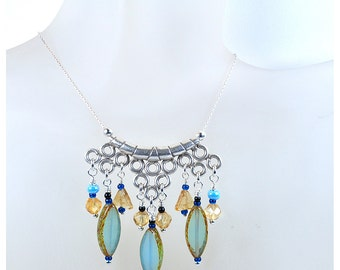 Czech bead necklace | blue necklace | chain necklace