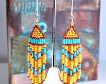 Beaded fringe earrings | seed bead earrings | fringe earrings | beaded earrings