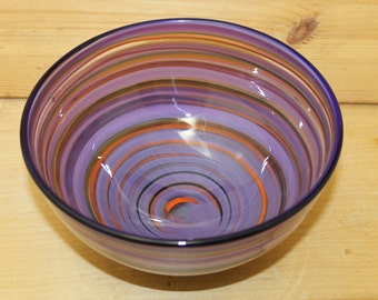 Multicolored Striped Hand Blown Glass Bowl Home Decoration