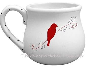 22 ounce Pottery Custom bird mug choose your color of bird chunky coffee mug tea mug bird lover mug ceramic pottery deep mugs rustic mug
