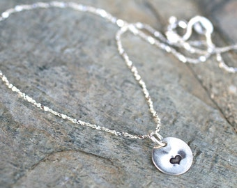 Sterling Silver Heart Stamped Charm Anklet, Heart Anklet, Silver Heart, 925 Sterling Silver, Metal Stamped Heart Charm, Love Gifts
