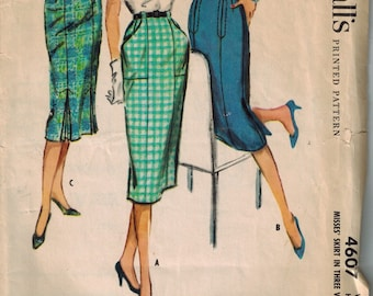 1958 McCalls 4607 Retro Wiggle Skirt Sewing Pattern Vintage Size 10 Front pockets