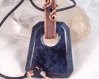 Beautiful blue and black Dumorterite witha Black Onyx heart, necklace