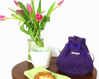 2 Cup Tea Cosy, small  tea cozy, Purple tea cozy, made in Scotland, Tea drinkers Gift, knitted tea cosy, Mothers Day Gift, UK shop