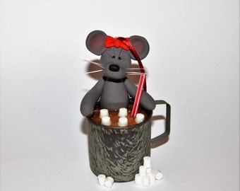 Mouse in Hot Chocolate Polymer Clay Christmas Ornament