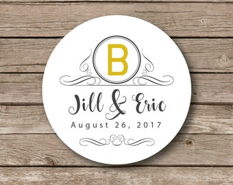 Wedding Personalized Stickers, classic monogram, wedding seal, personalized glossy labels, favor stickers, set of 12