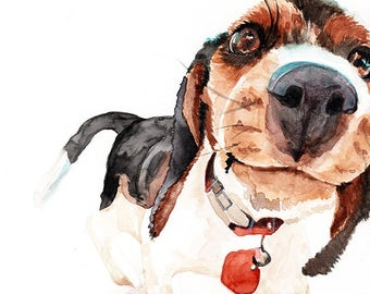 Fine art Print or original watercolor by Redstreake, beagle dog puppy  2 sizes