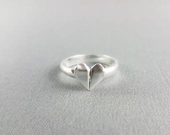 Silver Origami Heart Ring,Origami Jewelry,Love Ring,Valentine's Day Jewelry,First Anniversary Gift,Cute Ring,Origami Ring,Paper Anniversary
