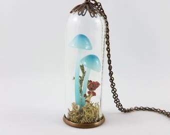 Realistic Mushroom Pendant, Moss Terrarium Jewelry,Mushroom Necklace,Mycology,Woodland Necklace, Woodland Jewelry,Wild Mushroom Necklace