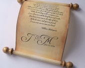 Aged paper love letter scroll, wedding vows scroll, personalized paper scroll, anniversary gift scroll