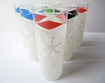 Vintage Tumblers Snowflake Color Anchor Hocking Highball Set of Six - Retro