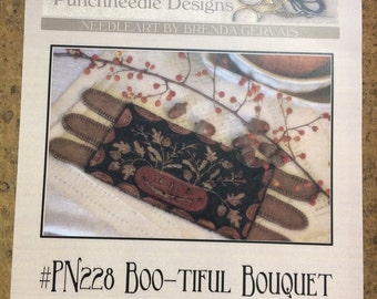 Primitive Punchneedle Pattern By Brenda Gervais - Boo-tiful  Bouquet