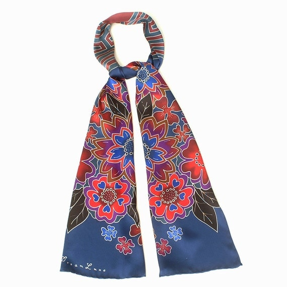 Handpainted Silk scarf, Mandala scarf, Flower scarf, Luxury scarf, Hand made scarf, Colorful scarf, Labyrinth, Unique gift for women