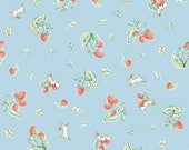 """ON SALE Penny Rose Fabrics """"Bunnies and Cream"""" Blue Strawberry"""
